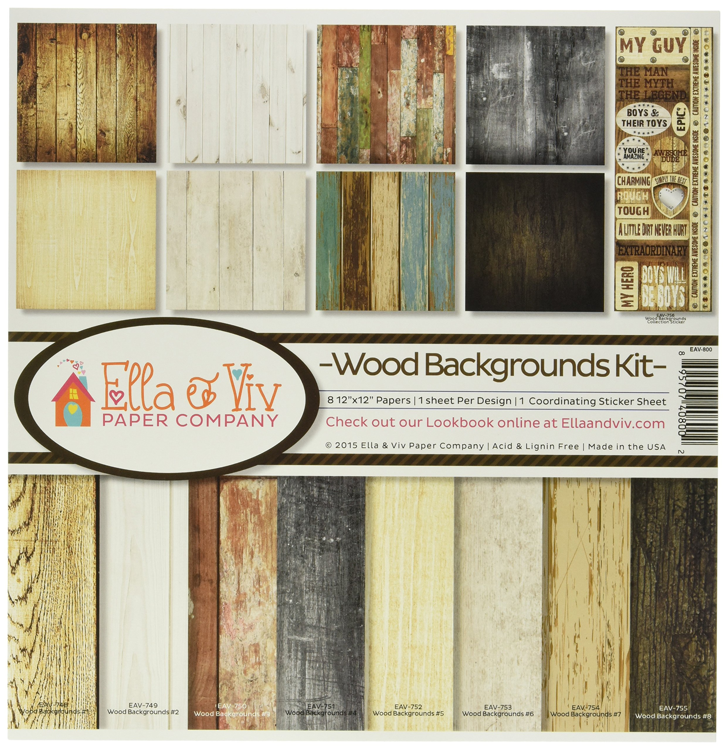 Reminisce EAV-800 Wood Backgrounds Collection Kit by Reminisce