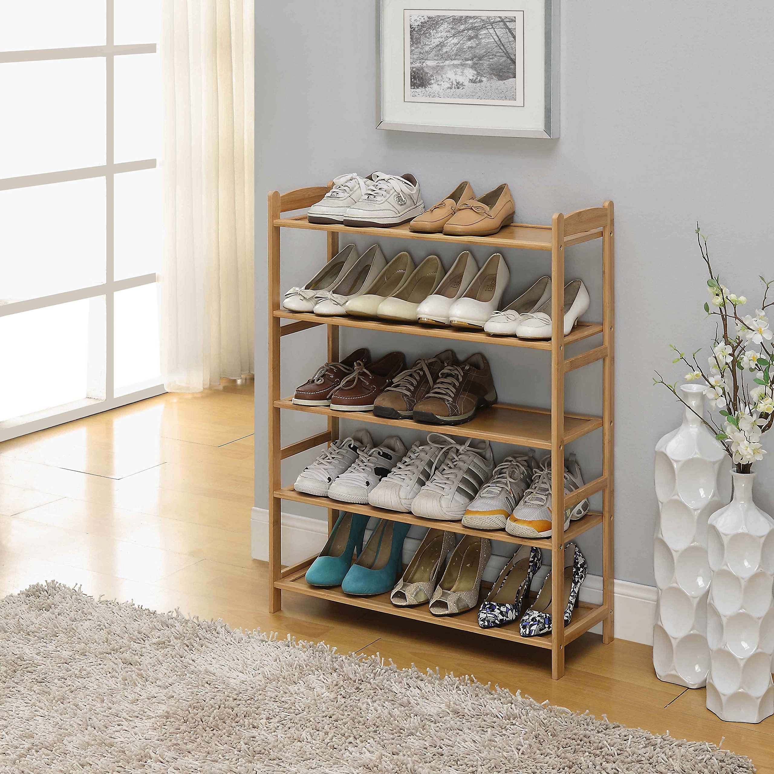 100% Natural Bamboo Wood 5-Tier Shoe Storage Racks Shelf Organizer
