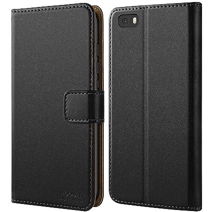 HOOMIL Huawei P8 Lite Hülle, Handyhülle Premium Leder Tasche Flip Case Schutzhülle für Huawei P8 Lite - Schwarz (H3164)