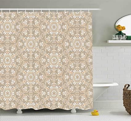 Ambesonne Mosaic Shower Curtain Antique Roman Time Inspired Rock Design With Circled Modern Lines Image