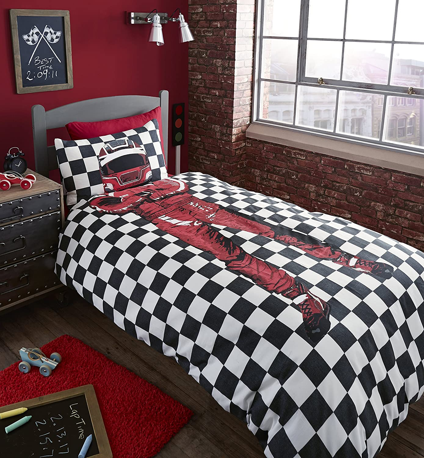 Catherine Lansfield Racing Driver Double Quilt Set, Multi-Colour Turner Bianca BD-37878-W-DQS-MU