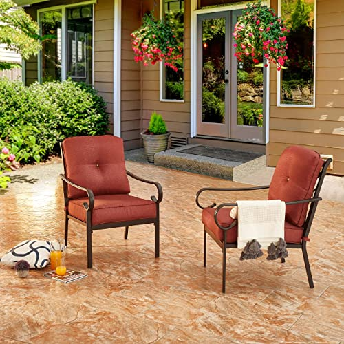 LOKATSE HOME Outdoor Conversation Furniture Set Patio Dining Metal Single Chairs with Cushion, 2, Red