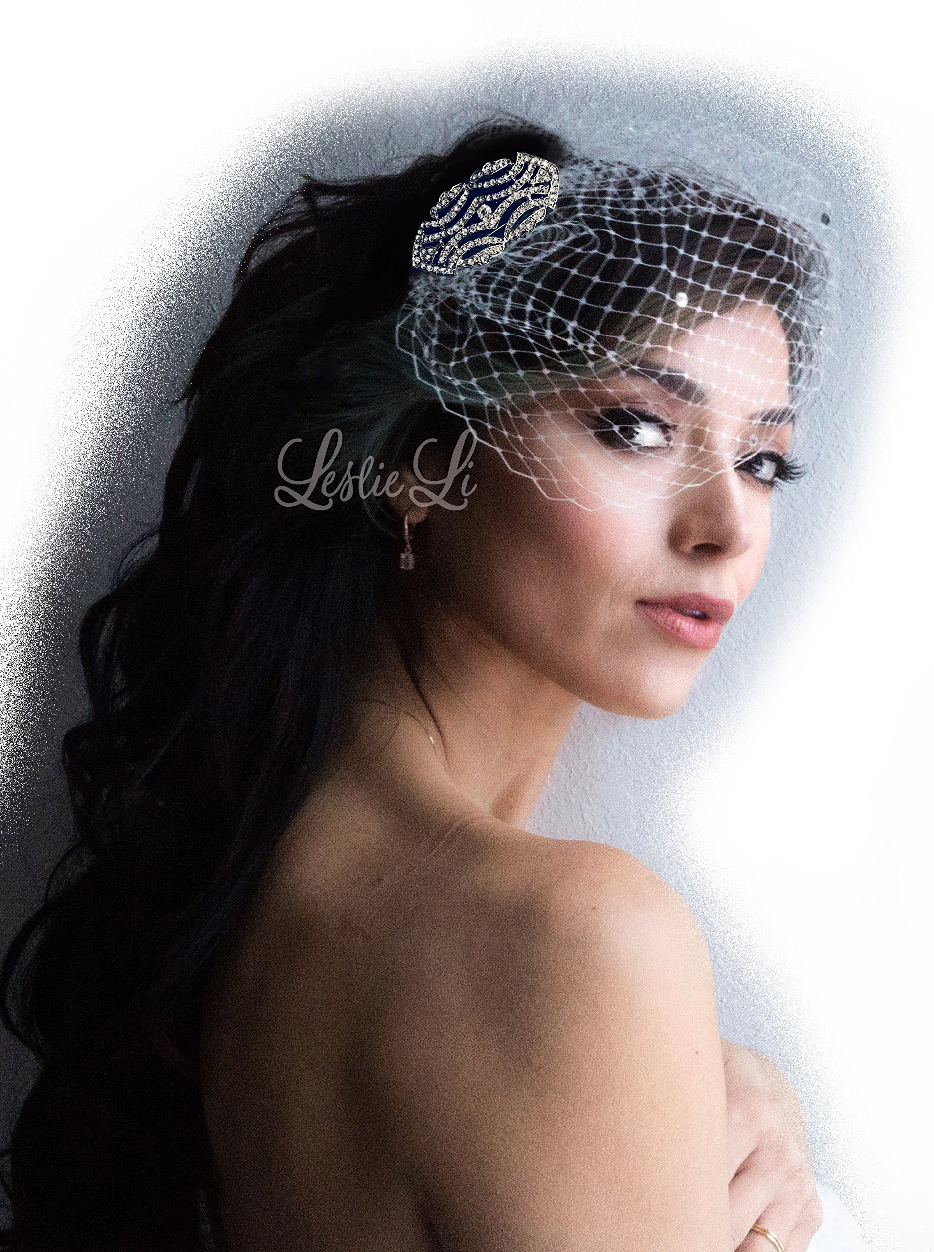 Leslie Li Women's Gatsby Art Deco Style Brooch and Petite Bridal Birdcage Veil French Net & Free Styling One Size Ivory/Silver 27-533