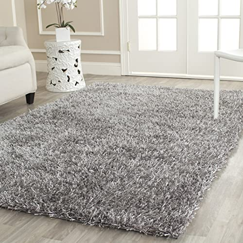 Safavieh New Orleans Shag Collection SG531-8080 Grey Polyester Area Rug 3 x 5