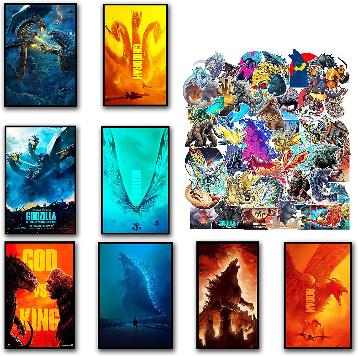 GTOTd Godzilla posters Wall Poster 8Pack with godzilla stickers 50Pcs, 11.5
