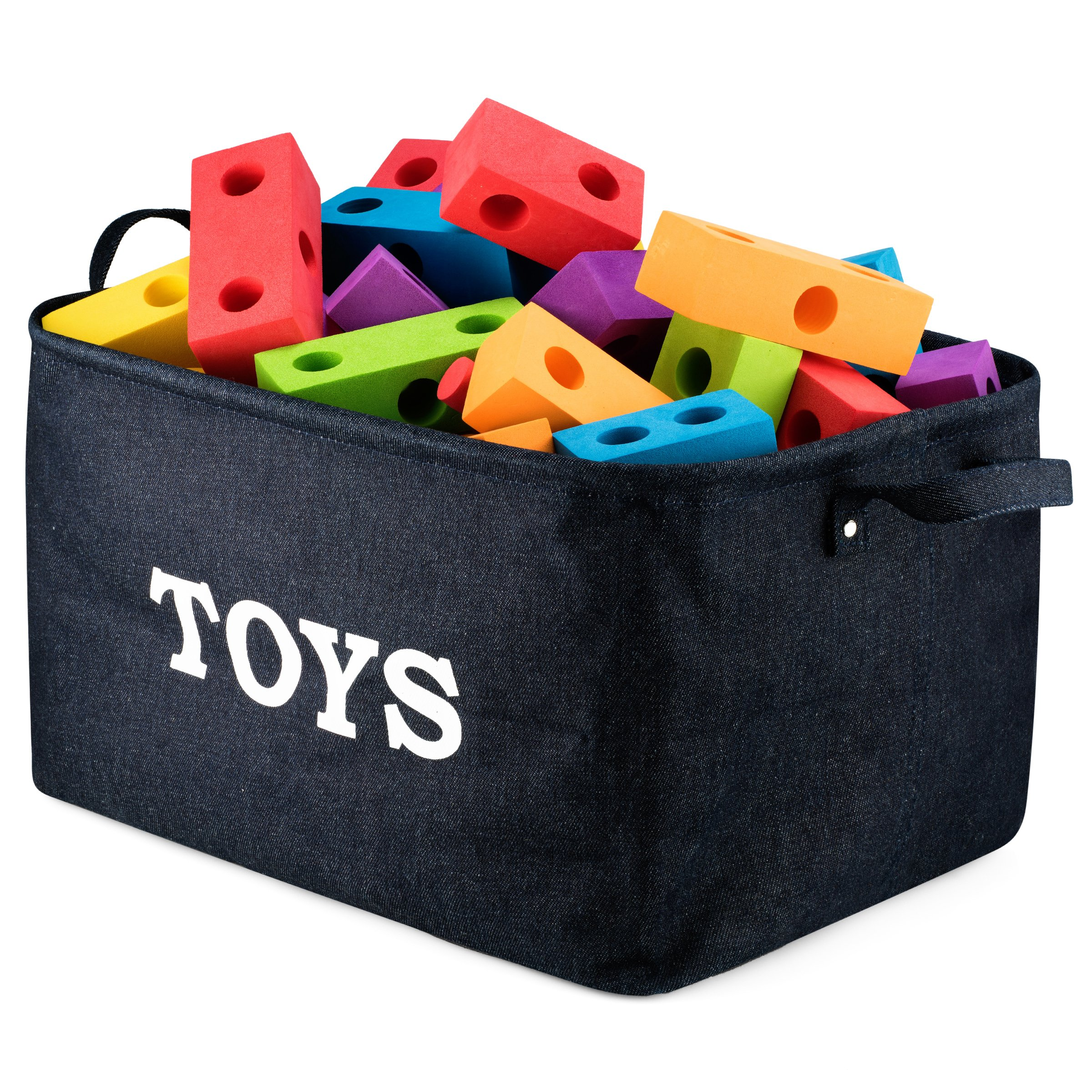 ''Toys Storage'' Bin 17'' Large Collapsible Toy Storage Basket ,Perfect Nursery Bin - Denim Toy Storage Basket for Organizing Baby Toys, Kids Toys, Baby Clothing, Children Books, Baby Gift Baskets