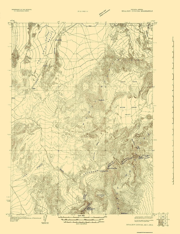 Amazon.com: Topographical Map - Boulder Canyon Nevada, Arizona Quad ...