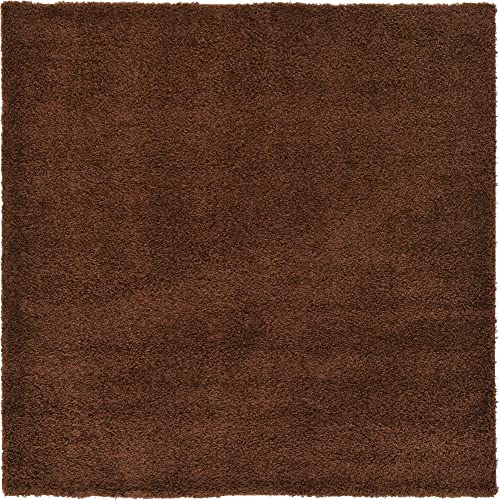 Unique Loom Solo Solid Shag Collection Modern Plush Chocolate Brown Square Rug 8 2 x 8 2