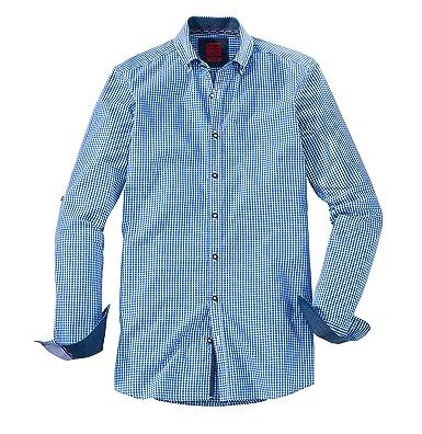 Olymp Hemd, Level five, bodyfit, casual, Trachtenhemd, blau/weiss kariert