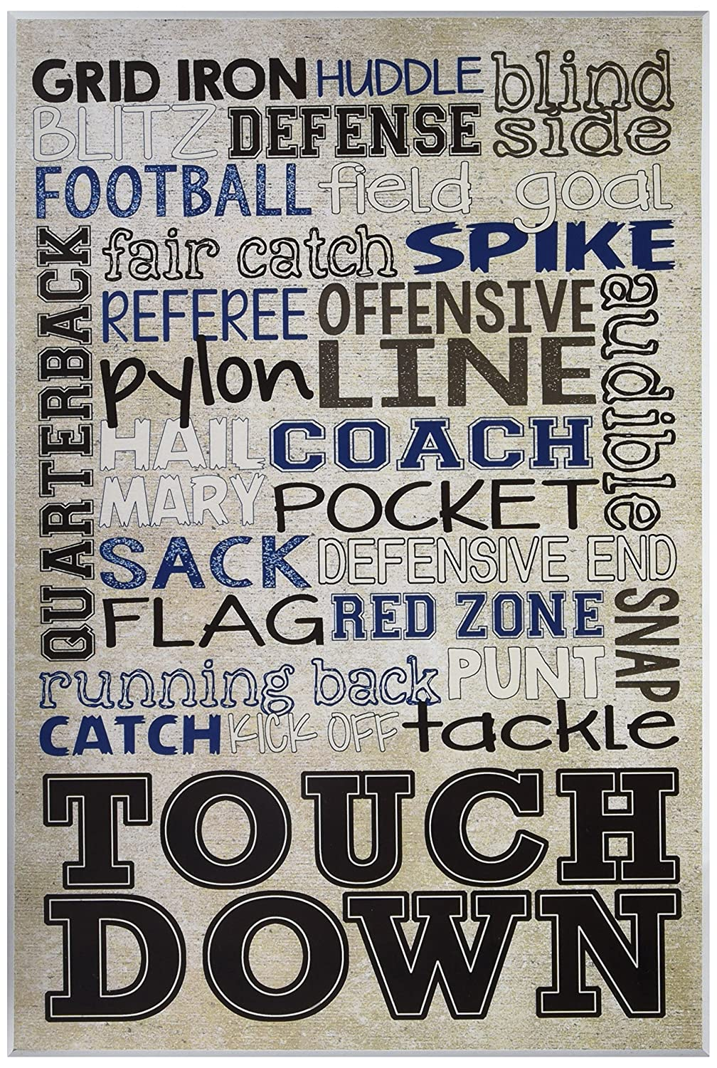Stupell Home Décor Football Typog Denim Feel Wall Plaque Art, 10 x 0.5 x 15, Proudly Made in USA Stupell Industries brp-1739_wd_10x15