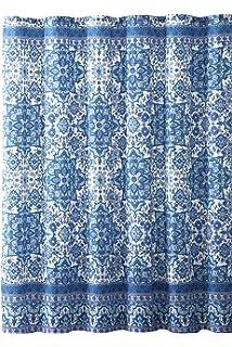 Bright Blue Aqua White Fabric Shower Curtain Boho Floral Mandala Design On Distressed Style Background