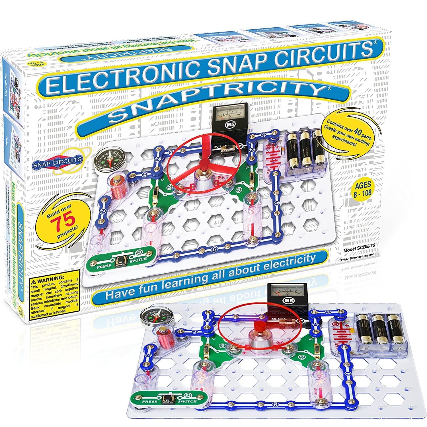 Snap Circuits Snaptricity Electronics Exploration Kit Simple Series And Parallel Let Over 75 Stem Projects 4 Color Project Manual 40 Modules Unlimited Fun Toys