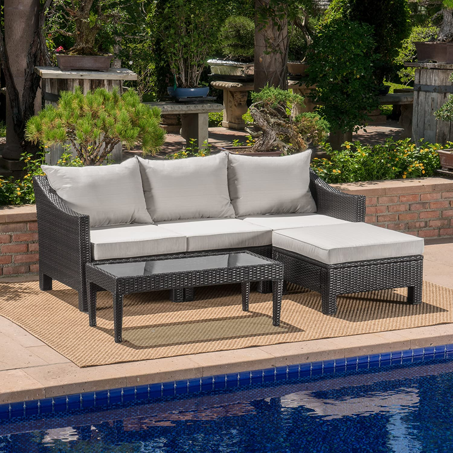 Amazon.com: Great Deal Furniture Caspian Outdoor L Shaped Grey Wicker  Sectional Sofa Set with Silver Water Resistant Cushions: Garden & Outdoor - Amazon.com: Great Deal Furniture Caspian Outdoor L Shaped Grey