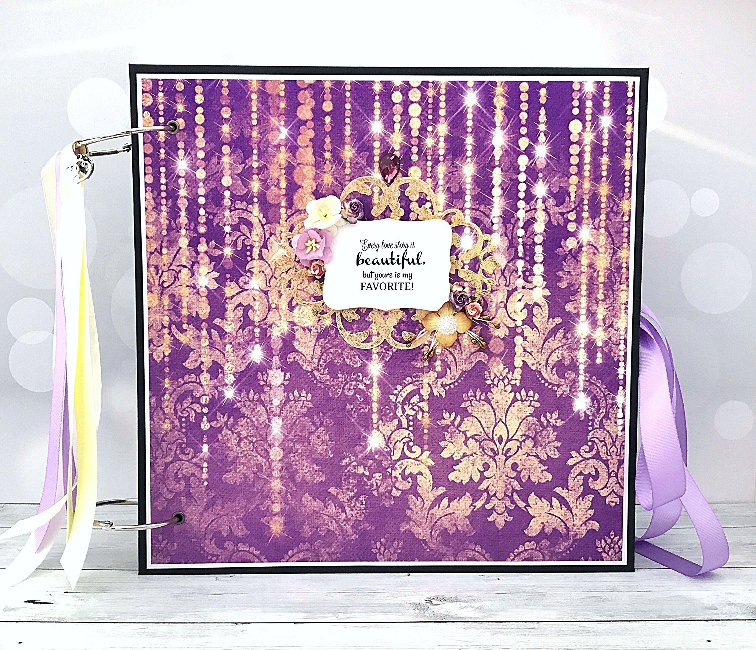 Kristabella Creations 12x12 Wedding memory book, metal rings binder, Wedding Photo Album, Anniversary scrapbook album, Wedding Gift