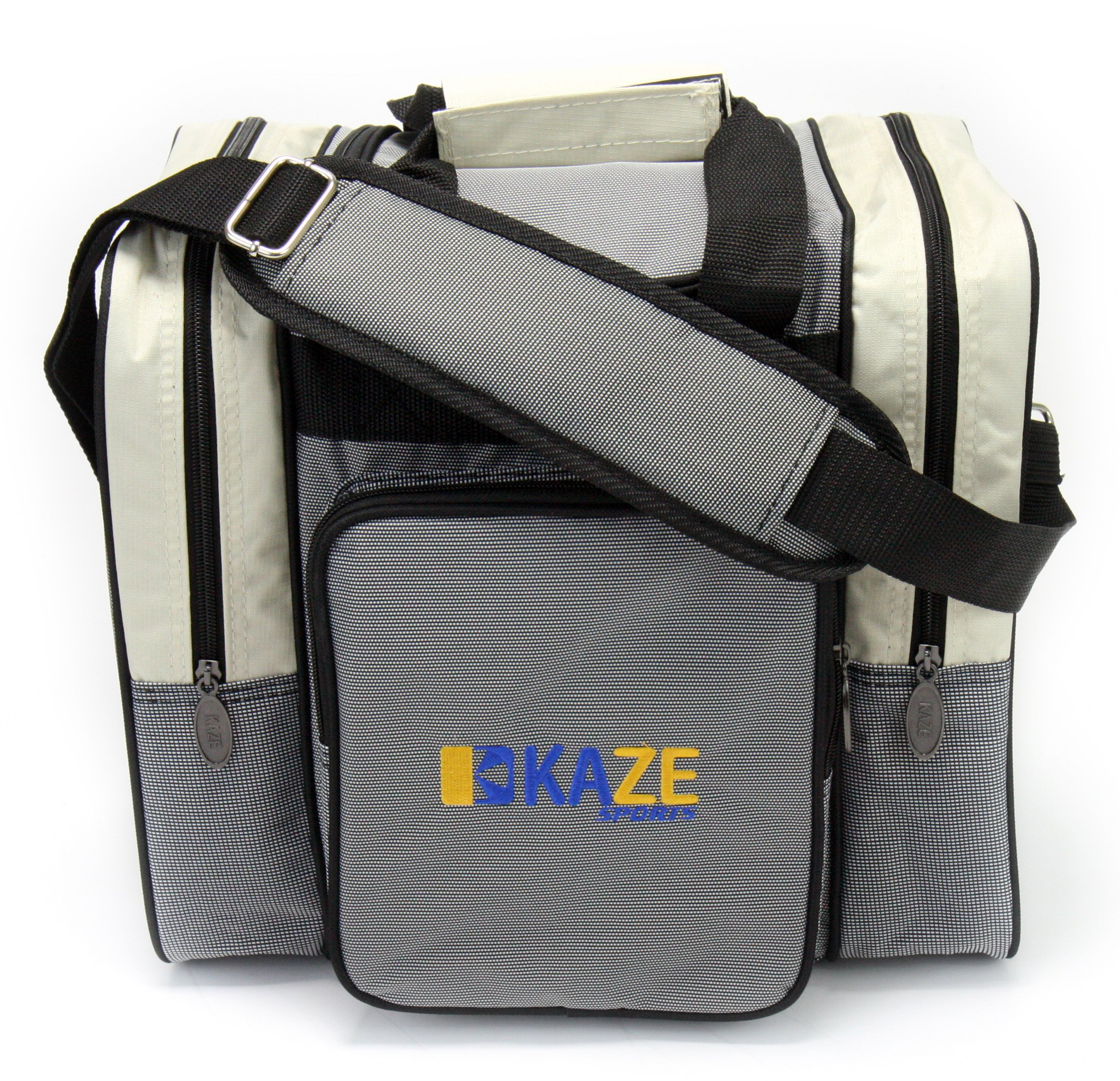 KAZE SPORTS Deluxe 1 Ball Bowling Tote with Two Side Pockets (Beige)