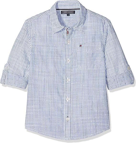 Tommy Hilfiger Cotton Slub Dobby Shirt L/s Blusa, Blanco (Bright White 123), 98 (Talla del Fabricante: 3) para Niños: Amazon.es: Ropa y accesorios