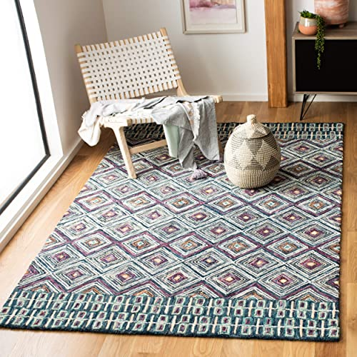 Safavieh Aspen Collection APN812M Blue and Red 4 x 6 Area Rug,