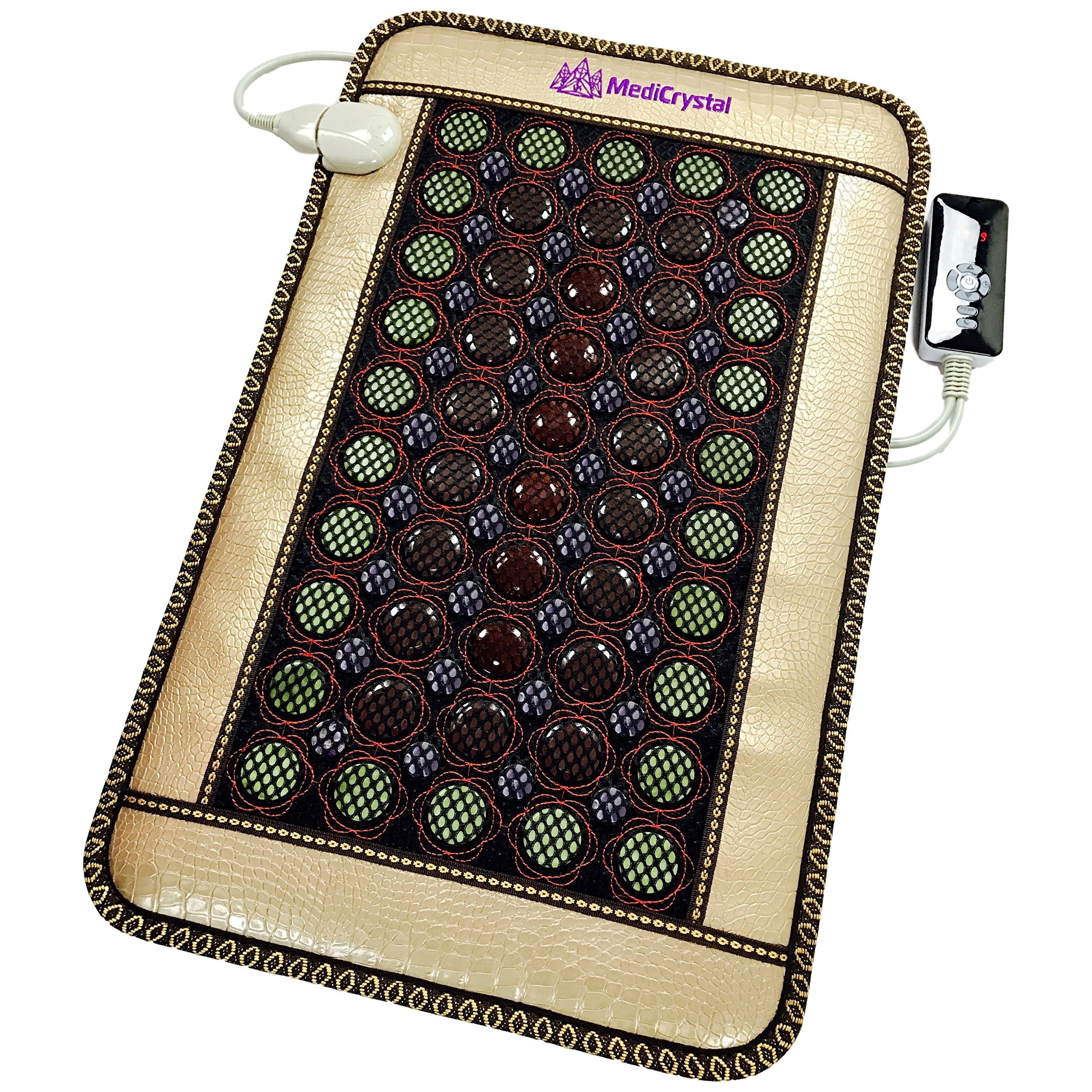 4 Gems FIR Bio Magnetic Mat - Natural Hot Stones - Amethyst Jade Tourmaline Agate - - Far InfraRed Heating Pad - 10Hz PEMF - Negative Ion - FDA Registered Manufacturer (Mini 32''L x 20''W) by MediCrystal (Image #1)