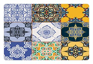 Ambesonne Moroccan Pet Mat for Food and Water, African and Portuguese Tile Patterns Various Tones and Textures Bohemian Print, Rectangle Non-Slip Rubber Mat for Dogs and Cats, Multicolor