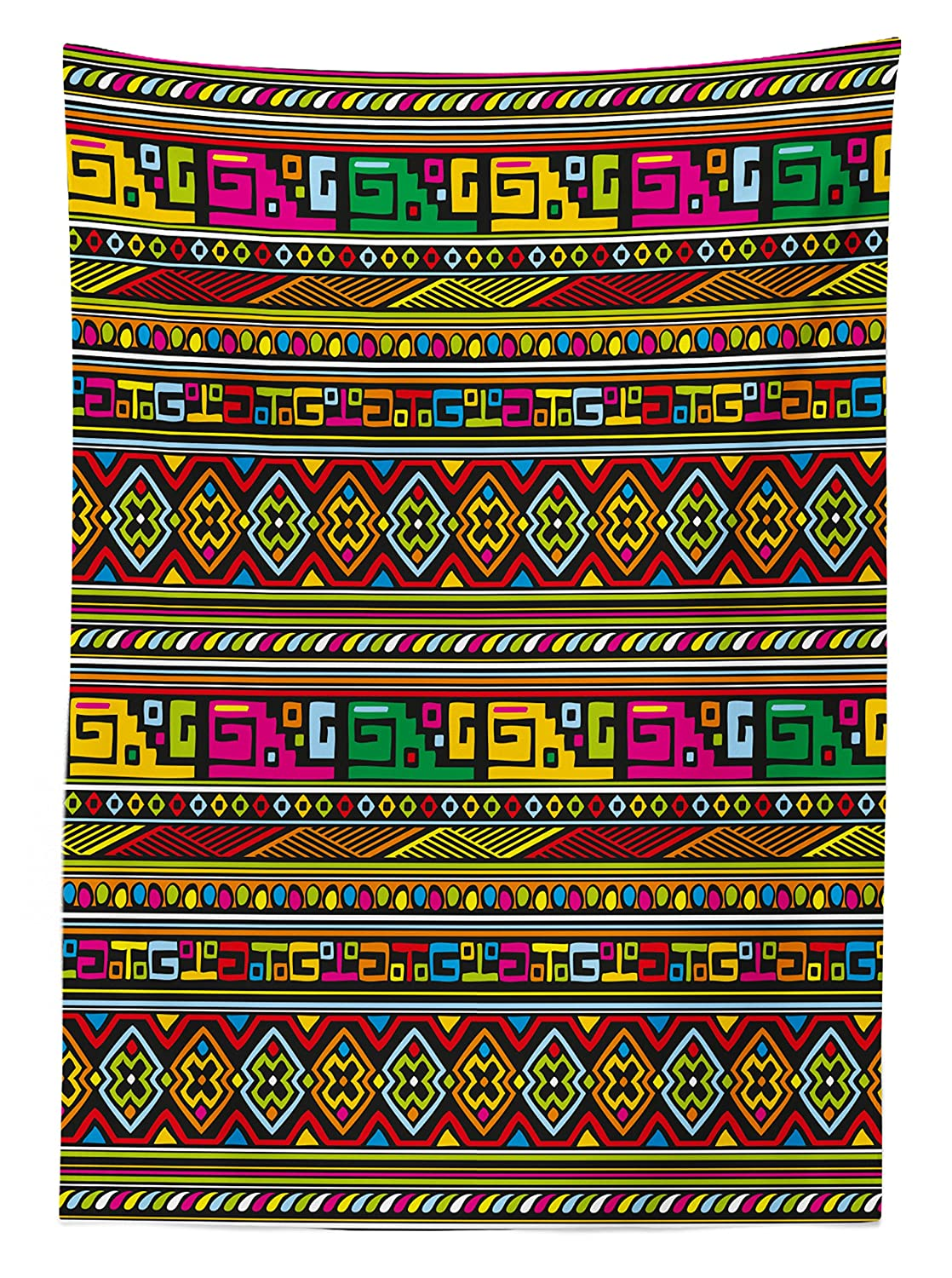 Ambesonne African Tablecloth Dining Room Kitchen Rectangular Table Cover Multicolor 52 W X 70 L Inches Grunge Collage with Ethnic Motifs Tribal Ancient Traditional Art Ornate Geometric