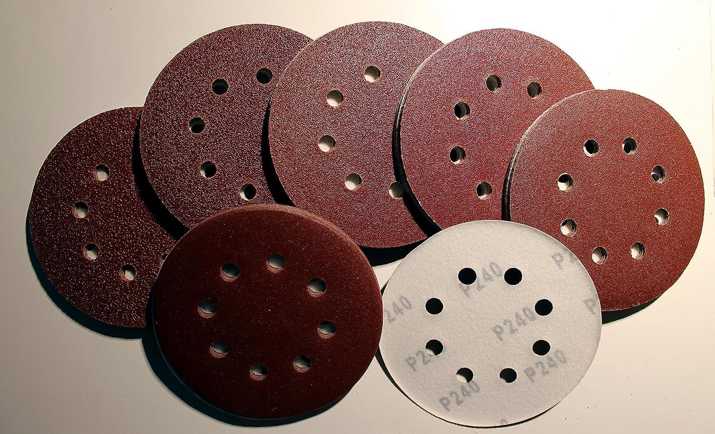 120 Blatt Klett Exzenter Schleifpapier Ø 125 mm +1 Blatt Gratis 8-Loch Kö rnung gemischt je 20 Blatt K40/K60/K80/K120/K180/K240 DS-Computerwelt®