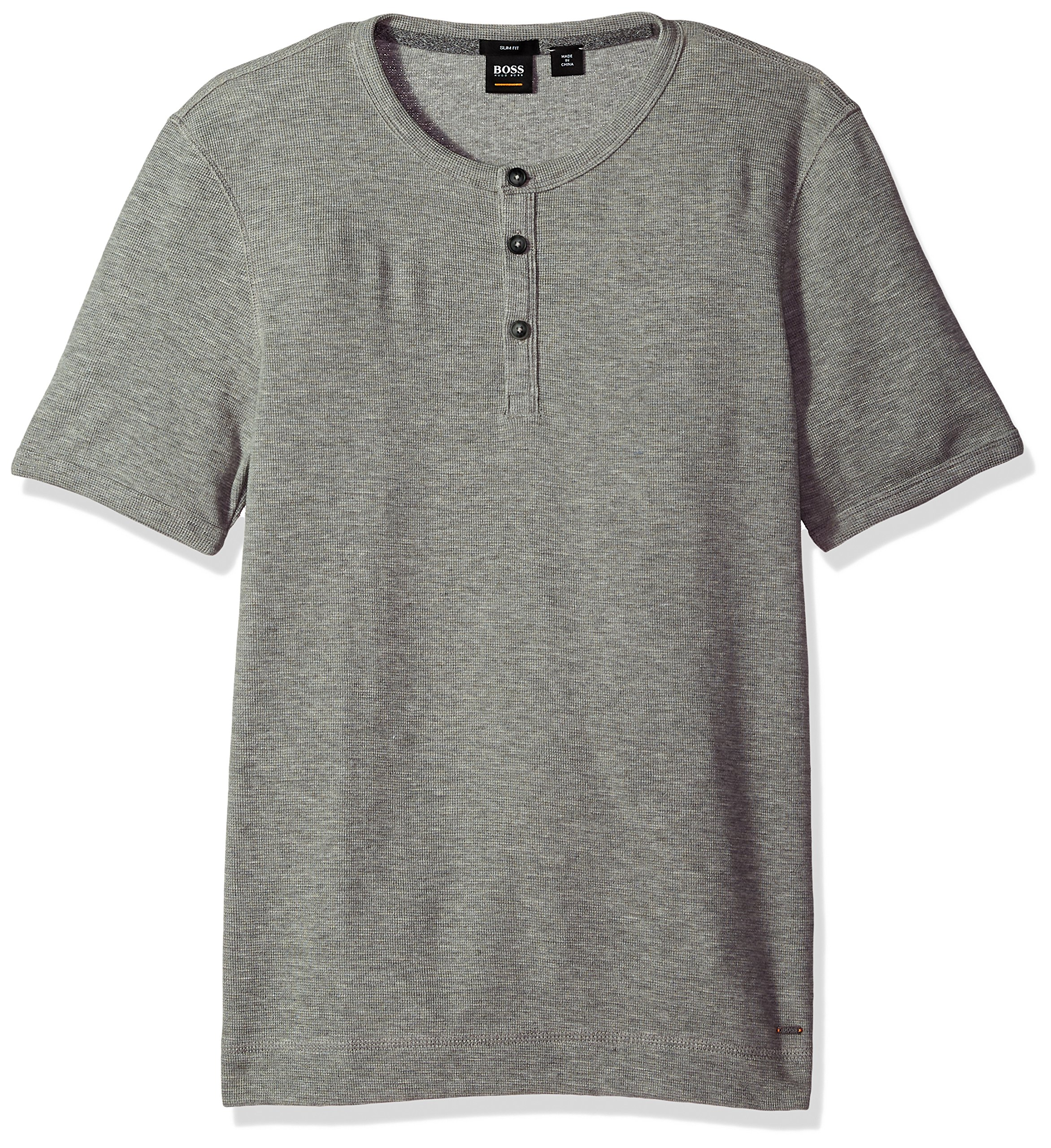 BOSS Orange Men's Short Sleeve Cotton Waffle Henley, Gray, Medium