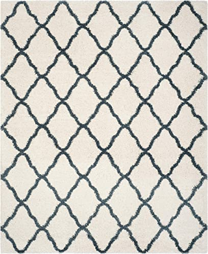 Safavieh Hudson Shag Collection SGH283T Ivory and Slate Blue Moroccan Geometric Area Rug 9 x 12