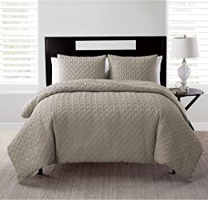 VCNY Home Nina Collection Comforter Soft & Cozy Bedding Set, Stylish Chic Design for Home Décor, Machine Washable, Ful/Queen, Taupe