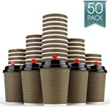 Disposable Coffee Cups to Go - Premium Hot Paper Cup With Lids and Straw 12 Oz(50 Count)Perfect for Ripple and Insulated Cups,Sturdy Without taste,No Sleeves Needed