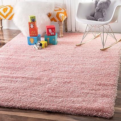 Amazon Com Soft Plush Nursery Solid Baby Pink Kids Shag Area