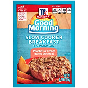 McCormick Slow Cooker Breakfast Seasoning Mix, 1.25 OZ (Peaches and Cream Baked Oatmeal, Pack - 1)