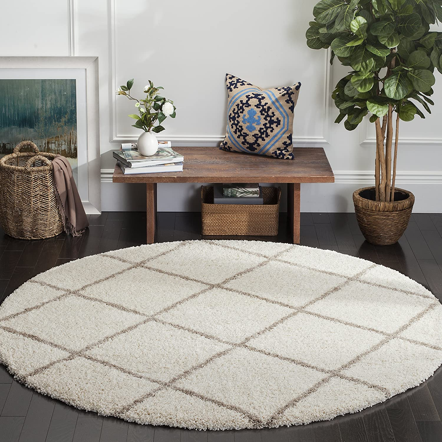 Ivory Beige 7' Round Safavieh Hudson Shag Collection SGH281A Ivory and Grey Mgoldccan Diamond Trellis Runner (2'3  x 10')