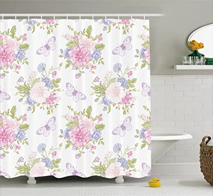 Ambesonne Shabby Chic Shower Curtain By Flowers Floral Design With Buds And Butterflies Ivy Swirl