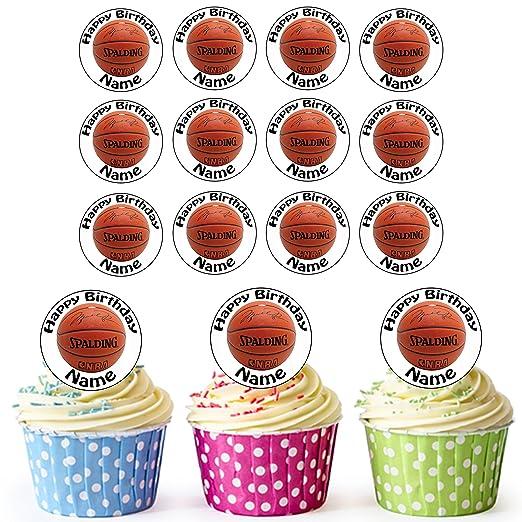 24 de baloncesto personalizado comestible cupcake toppers/adornos ...
