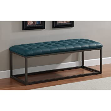 Metro Shop Healy Teal Leather Tufted Bench