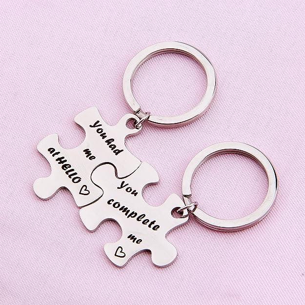 Amazon.com: Choroy parejas Puzzle llavero You complete me ...