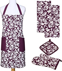 Yourtablecloth Kitchen Gift Set-1 Kitchen Apron, an Oven Mitt & A Pot Holder-2 Kitchen Dish Towels or Tea Towels-Ideal Cooking Gifts or Gift Ideas for Chefs-Suitable for Men & Women-Eggplant