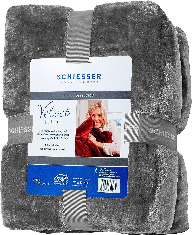 Schiesser Velvet Deluxe Decke  Braun 130 cm x 170 cm Neu