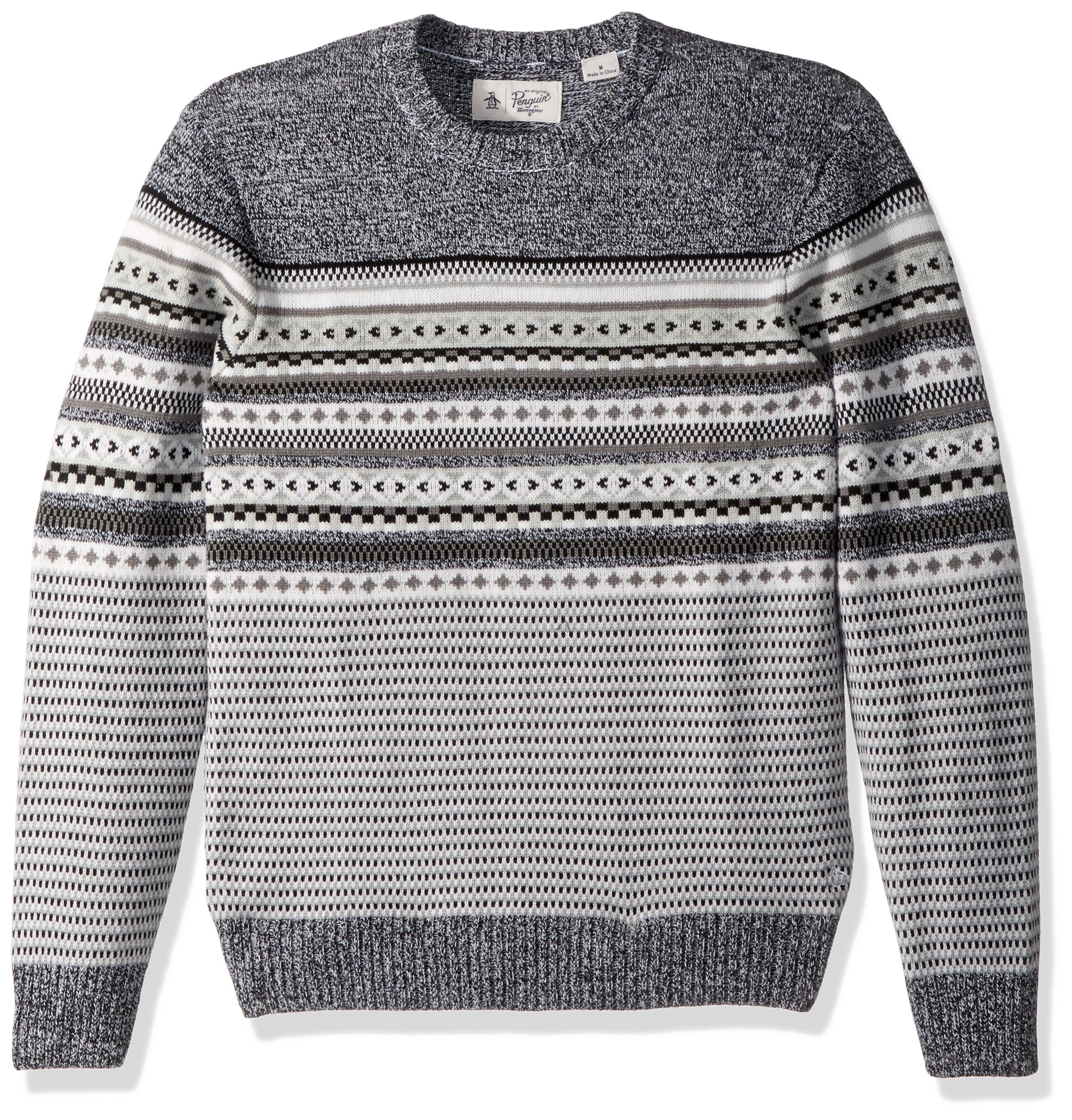 Original Penguin Men's Engineered Fairisle Crew Sweater, True Black, Large