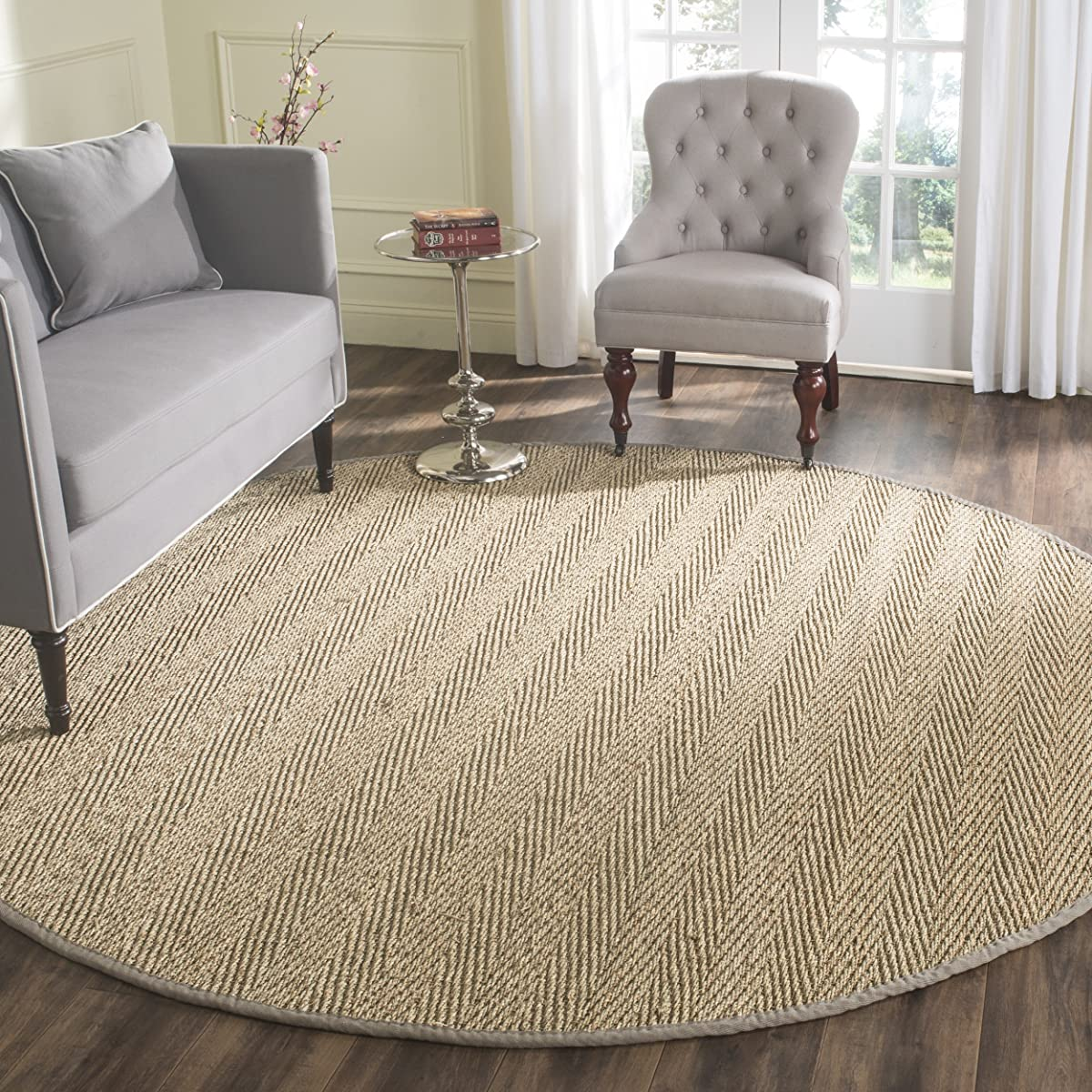 Safavieh Natural Fiber Collection NF115P Herringbone Natural and Grey Seagrass Round Area Rug (8 Diameter)
