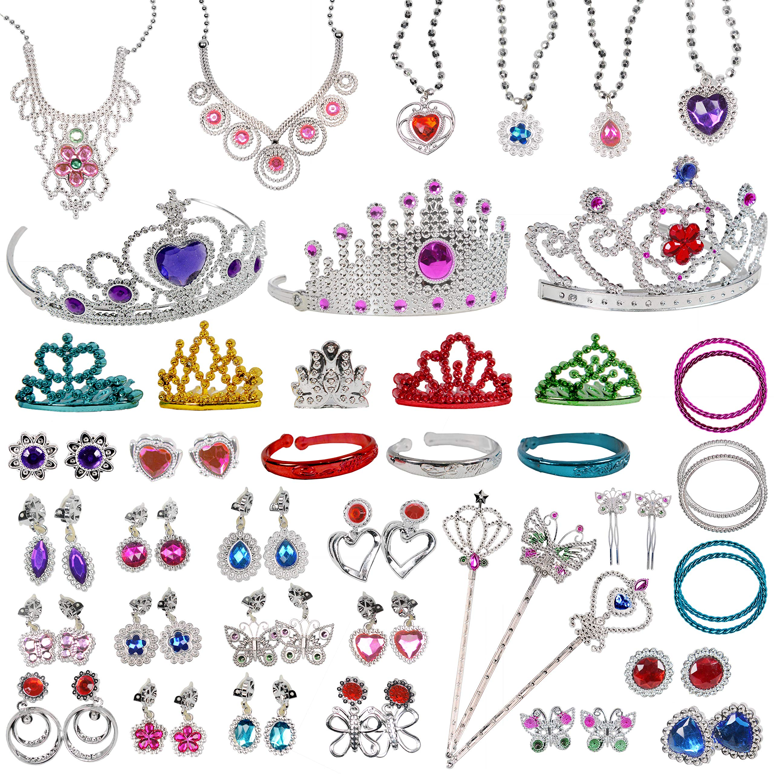 Jewelry Toy,62 Pieces Princess Pretend Jewelry Toy Playset,Assorted Jewelry Dress Up Toy Rings,Earrings,Necklaces,Crowns,Bracelets,Wands for Girls Birthday Gift,Princess Party Favors