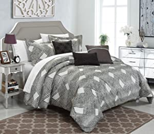 Chic Home 6 Piece Fiorella New Luxury Jacquard Collection Comforter Set, King, Grey