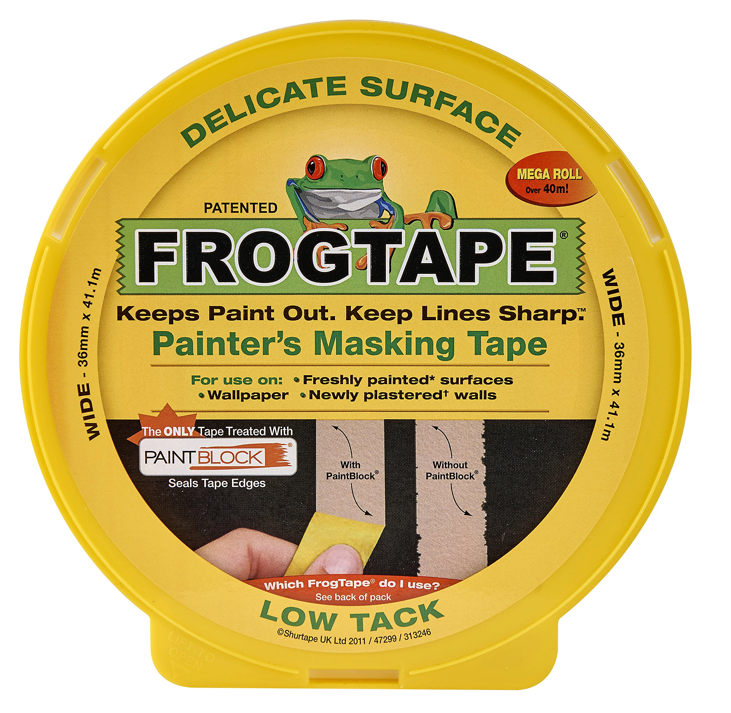 Frog Tape Painter's Masking Tape 36mm x 41m, Delicate Surface by FrogTape (Image #1)