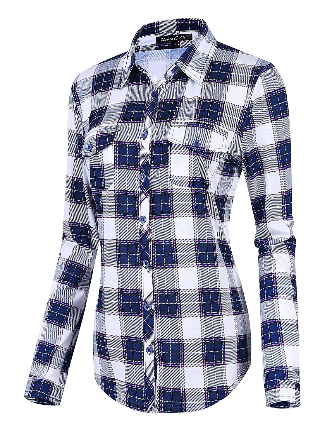 Urban CoCo Women's Classic Plaid Shirt Button Down Long Sleeve Blouse Bingo E-Commerce