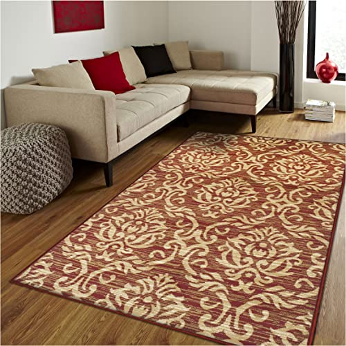Superior Fleur de Lis Collection Area Rug, Elegant Scrolling Damask Pattern, 10mm Pile Height with Jute Backing, Affordable Contemporary Rugs – Red, 8 x 10 Rug