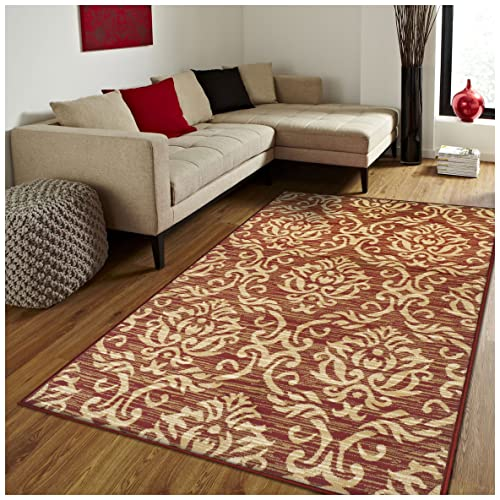 Superior Fleur de Lis Collection Area Rug, Elegant Scrolling Damask Pattern, 10mm Pile Height with Jute Backing, Affordable Contemporary Rugs – Red, 5 x 8 Rug