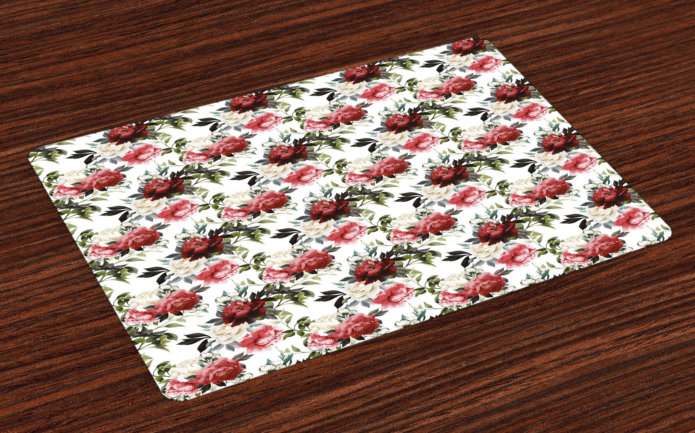 Ambesonne Shabby Chic Place Mats Set of 4, Country Style Floral Flower Roses Watercolor Image Art, Washable Fabric Placemats for Dining Room Kitchen Table Decor, Cream Dark Coral Maroon and Green by Ambesonne (Image #1)