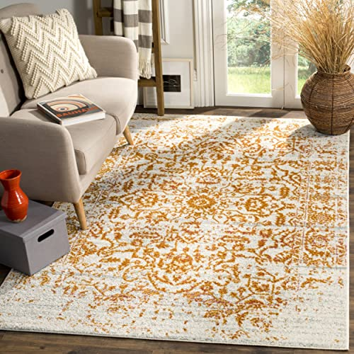 Safavieh Madison Collection MAD607K Cream and Orange Bohemian Chic Distressed Area Rug 9 x 12