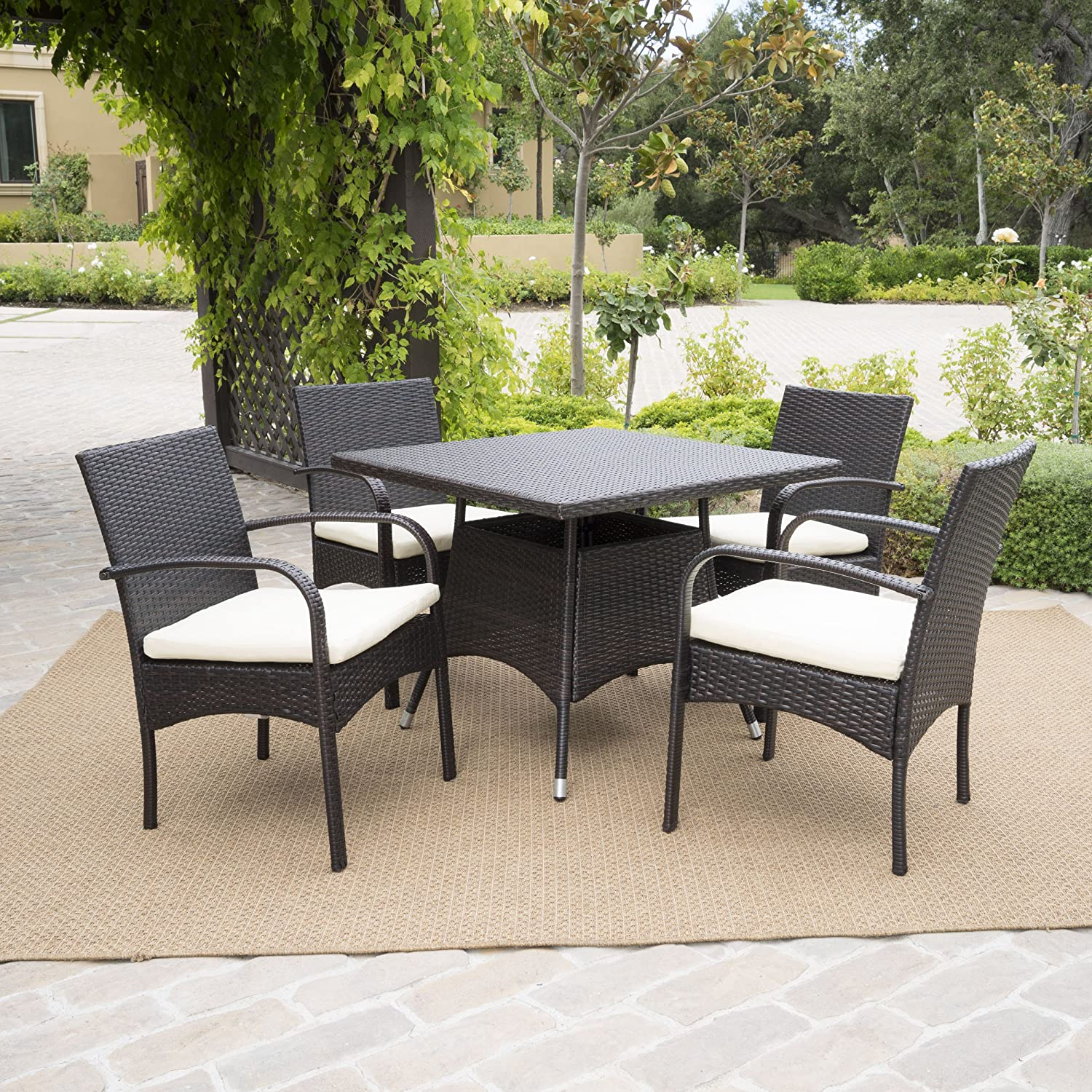Amazon Carmela 5 Piece Outdoor Patio Furniture Wicker Dining