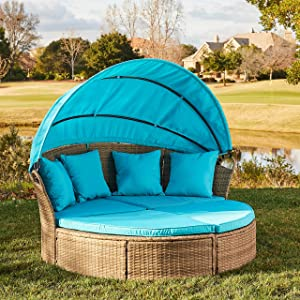M&W Patio Furniture Round Outdoor Daybed with Retractable Canopy and Soft Cushions, PE Wicker Rattan Sectional Sofa Set for Lawn Garden Backyard Pool